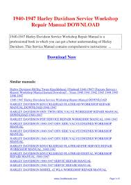 1940 1947 harley davidson service workshop repair manual by hong