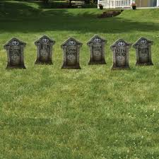 amazon com fake tombstones halloween yard decoration set 6