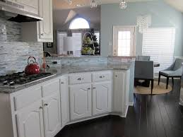Dark Kitchen Cabinets With Backsplash Light Granite In White Kitchen Amazing Unique Shaped Home Design