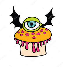 halloween muffin with eye and bat wings retro cartoon halloween