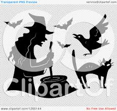 witch silhouette png clipart of a black silhouetted witch stirring a cauldron with