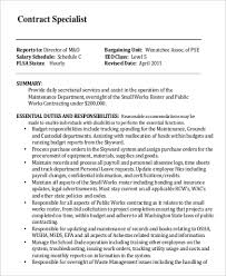 Secretary Job Description For Resume by Contract Specialist Job Description Multimedia Specialists Job