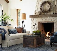 Pottery Barn Bosworth Rug by Pottery Barn Blue Living Room