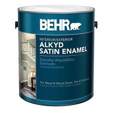 behr 1 gal white alkyd satin enamel interior exterior paint