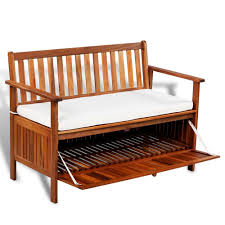 Rustic Wooden Bench With Storage Garden Storage Bench Wooden Patio 2 Seater Sofa Seat Cushion