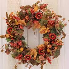 amazon com fall pumpkin and autumn berry door wreath home u0026 kitchen
