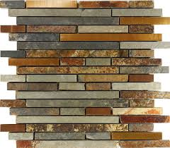 Mosaic Tiles For Kitchen Backsplash 10sf Rustic Copper Linear Natural Slate Blend Mosaic Tile Kitchen