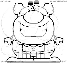 cartoon clipart of an outlined happy pudgy circus clown black
