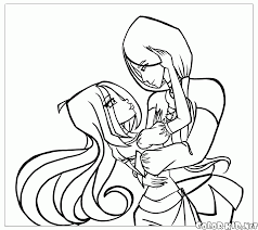 coloring page winx and mother in law