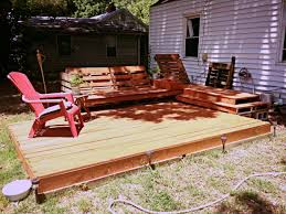 Pallets Patio Furniture - deck and relaxation area created out of pallets and a little
