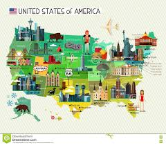 States Of United States Map by United States Map With Landmarks Stock Image Image 9508411