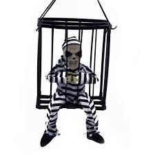 halloween decorations skeletons hanging skeleton caged jail prisoner halloween decoration light up