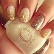white nails with glitter ombré and glitter accent nail orly