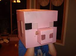 Halloween Minecraft Costume Minecraft Pig Halloween Costume Head Coroplast 8 Steps
