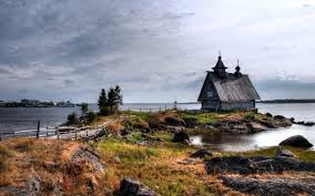 old small house on the rocky river shore wallpaper world