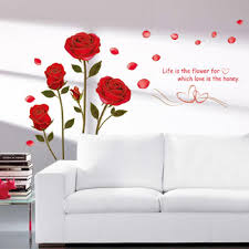 compare prices on red rose stickers online shopping buy low price 75cm 120cm removable red rose life is the flower quote wall sticker mural decal home