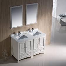 Fresca Bath FVNAW Oxford Double Vanity Sink  Antique - 48 bathroom vanity antique white
