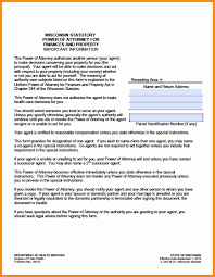 Durable Financial Power Of Attorney by 11 Wisconsin Power Of Attorney Forms Action Plan Template