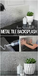 remodelaholic how to install a metal ceiling tile backsplash