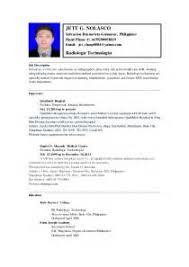 Sample Medical Technologist Resume by Cv Sample Medical Technologist