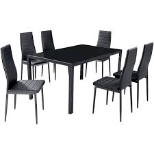 gfw houston glass dining table with 6 chairs pvc dining set 6
