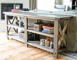 Wood Shelf Plans Free by Ana White Rustic X Console Diy Projects