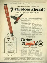 old style writing paper ads pens pencils 7 strokes ahead parker duofold fountain pen dunlop ties tennis golf ad 1925