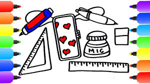 how to draw student set for kids coloring pages equipment