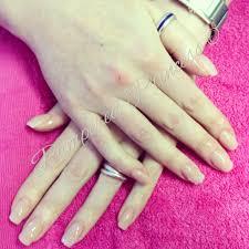 natural acrylic overlay beautiful pink mixed acrylic nails