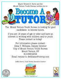 Tutoring Job Resume Last Week To Apply For Open Tutor Positions City Of Mount Vernon Ny