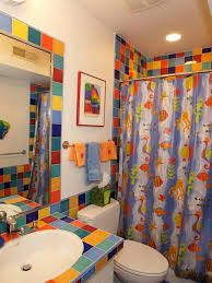 bathroom designs for kids with colorful tiles and ocean animals