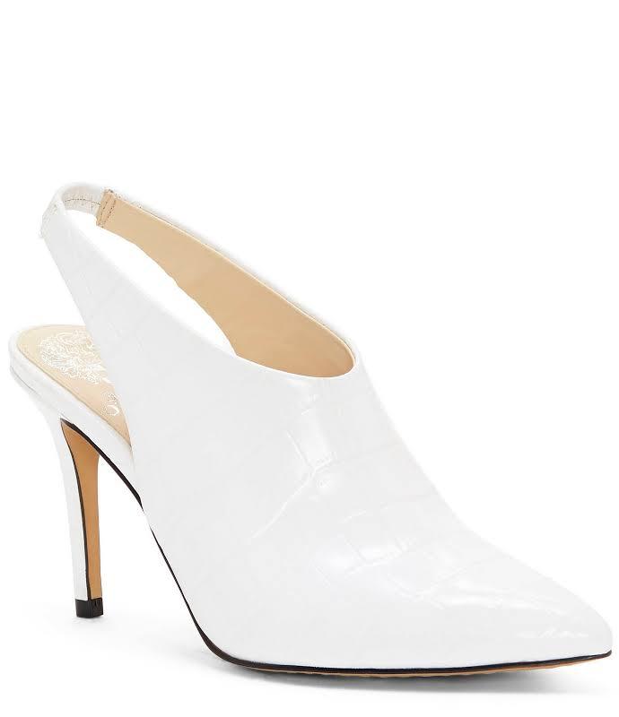Vince Camuto Amnedra Leather Slingback Heels White 8.5 Medium (B,M)