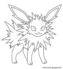jolteon eevee pokemon coloring pages printable