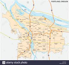 Oregon Map by Road And Neighborhood Map Of Portland Oregon Stock Vector Art