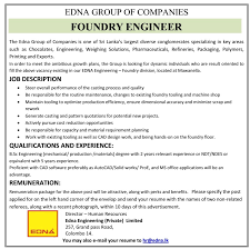 Office Engineer Job Description Foundry Engineer Job Vacancy In Sri Lanka