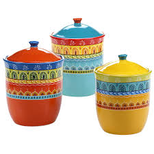 Country Canister Sets For Kitchen Amazon Com Certified International 3 Piece Valencia Canister Set