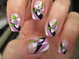 nail art tricolor french with flower youtube