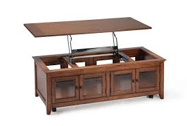 wooden lift top coffee table with glass cabinet storage door