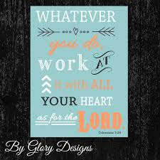 Bible Verses For The Home Decor Scripture Art Bible Verse Whatever You Do Work At By Glorydesigns