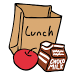 a lunch sack, apple and milk