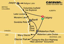 Caravan Canadian Rockies Tour from Calgary     All Inclusive Caravan Tours Canadian RockiesTour Map