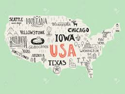 Arizona Us Map by Usa Map Handdrawn Illustration With Lettering And Symbols Of