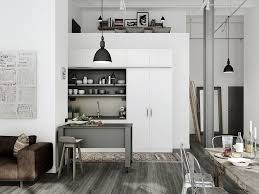 elegant modern industrial kitchen design with white wall