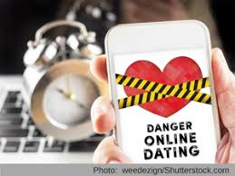 BBB Tip  Romance Scam phone with heart and police tape Online dating