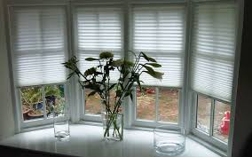 house bay window using tensioned white blinds fantastic and good