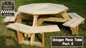 Plans To Build A Picnic Table Bench by Build An Octagon Picnic Table Part 2 Youtube