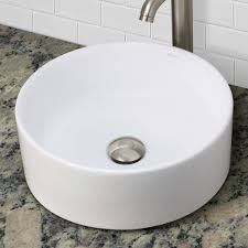 decolav 1458 cwh above counter round vitreous china bathroom sink