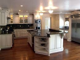 White Kitchen Cabinets With Black Granite Countertops by Likable Interior Design With Antique White U Shaped Custom Kitchen