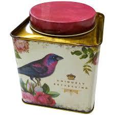 oiseaux en metal boîte à thé en métal coloré décor oiseau