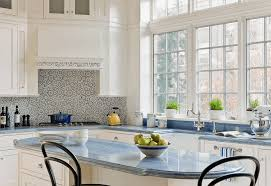 kitchen granite countertop pendant light wood pattern backsplash